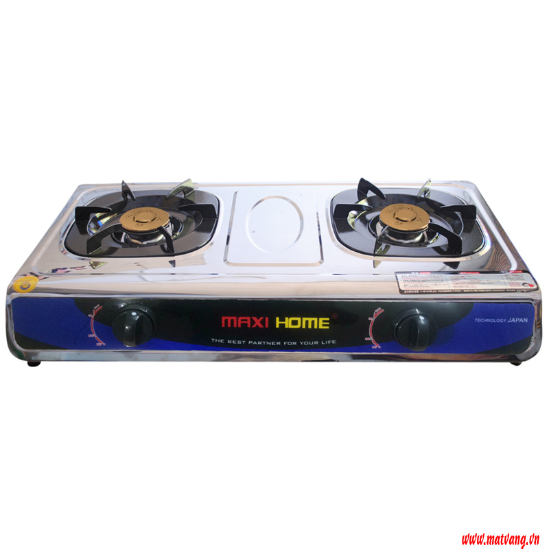 Two-burner stainless steel MAXI HOME gas stove